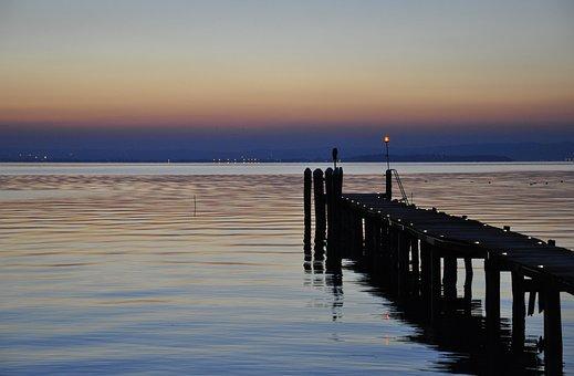 Waters, Sunset, Lake Garda, Jetty, Reflection