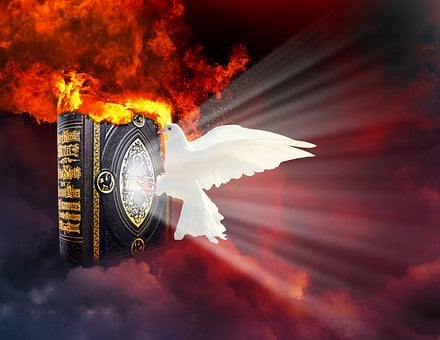 Dove, Flame, Clouds, Bible, Religion
