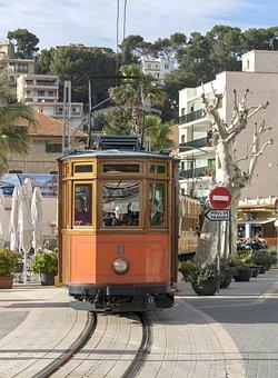 Mallorca, Sóller, Port De Sóller, Train, Red Flash