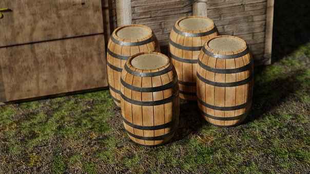 Barrels, Wooden, Wood, Container, Storage, Liquid, Old
