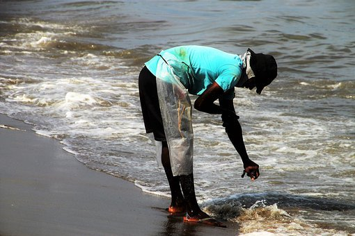 The Fisherman, A Person, Water, The Waves, Indian Ocean