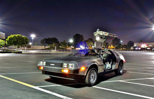 Car, Road, Asphalt, Delorean, Parking Lot, Mall, Bttf