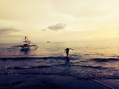 Sea, Water, Sunset, Fisherman, Beach