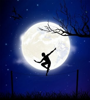 Moon, Night, Balance, Tightrope Walker, Branches, Birds