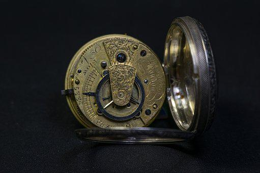 Movement, Pocket Watch, Brass, Hand Engraving, Old