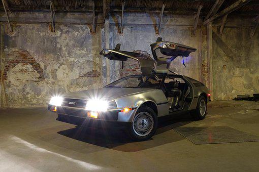 Car, Asphalt, Delorean, Parking Lot, Bttf