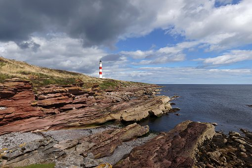 Sea, Waters, Coast, Nature, Sky, Scotland, Lighthouse