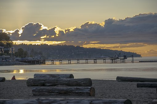Sunset, Dawn, Water, Dusk, Kits Beach, Vancouver