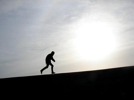 Silhouette, Human, Action, A, Back Light, Run, Race