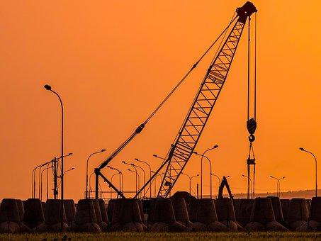 Sunset, Crane, Pylons, Industry, Machine