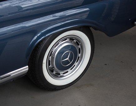 Auto, White Wall Tires, Hub Cap, Mercedes, Star Vehicle