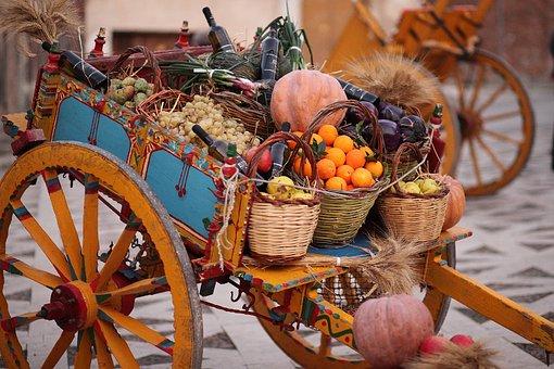 Shopping Cart, Of Wood, Wood, Wheel, Food, Traditional