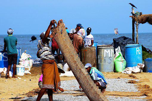 Beach, Sand, Indian Ocean, A Fishing Village, People