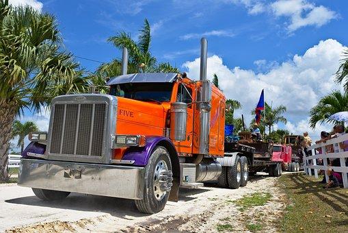 Truck, Big Rig Semi, Haul, Orange, Power