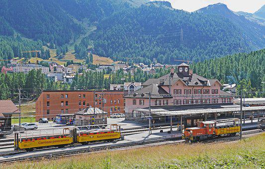 Railway Station, Pontresina, Rhaetian Railways, Rhb
