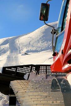 Snow, Winter, Travel, Snow Groomer, Pistenbully, Runway