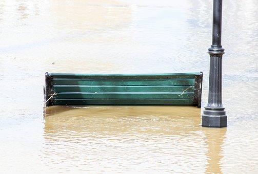 Water, River, Flood, Bench, Seat