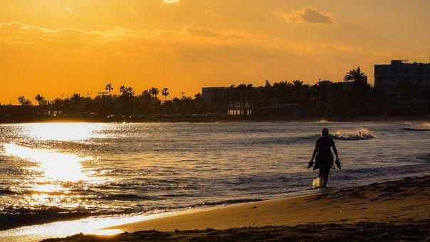 Sunset, Dusk, Beach, Sea, Evening, Silhouetted, Shadows