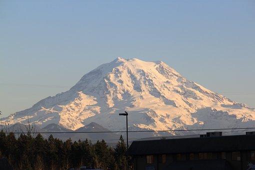 Mountain, Snow, Landscape, Mt, Rainier, Washington