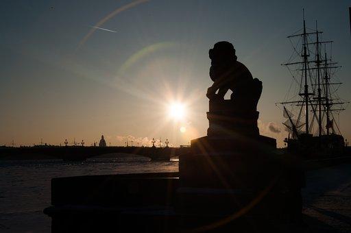 Sunset, Dawn, To Emerge, Water, Twilight, Backlit, Sun