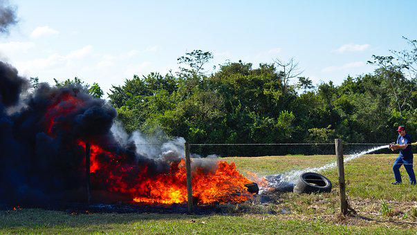 Fire, Fire Fighter, Emergency, Tires, Water, Spray