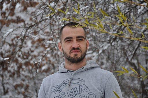 Man, Portrait, Snow, Branch, Leaf, Beard