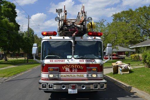 Fire Truck, Fireman, Green Grass, Tree, White, Red