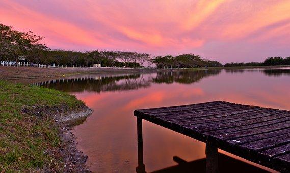 Water, Lake, Reflection, Sunset, Panoramic, Dock, Dusk