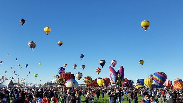 Balloon, Parachute, People, Many, Air