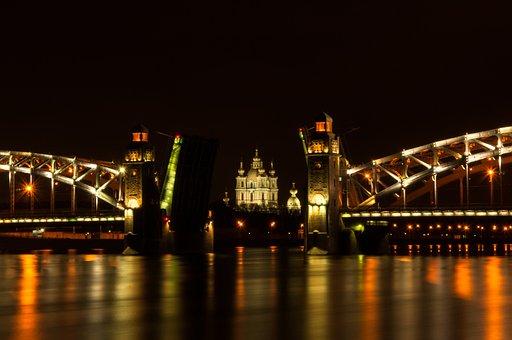 Bridge, River, Megalopolis, Water, Lit, Reflection