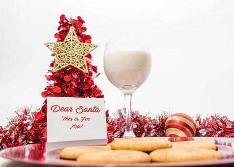 Glass, Cookies, Santa, Milk