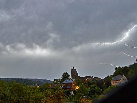 Panorama, Tree, Sky, Nature, Landscape, Thunderstorm