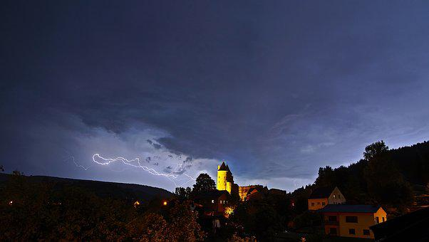 Sky, Panorama, Landscape, Thunderstorm, Clouds, Flash