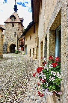 Architecture, Switzerland, Old, House, Village, Flowers