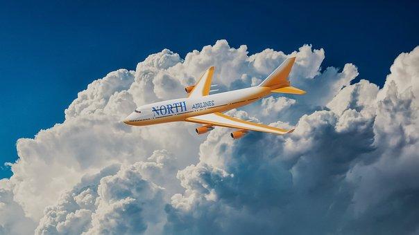 Plane, Airplane, Clouds, Flight, Transport, Travel, Sky