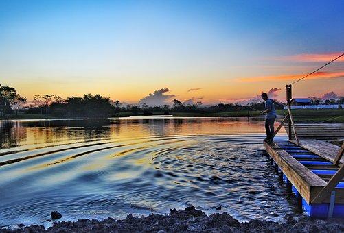 Water, Sunset, Dusk, Lake, Travel, Fishing, Ripples