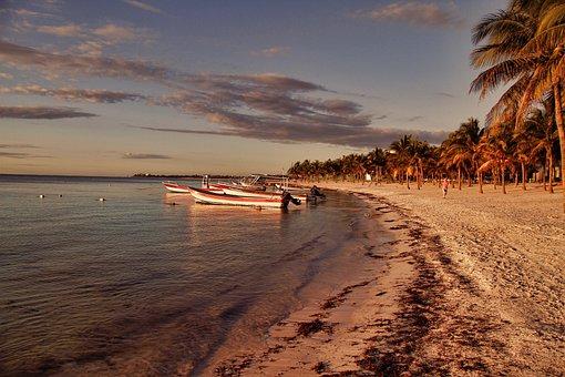 Beach, Water, Sunset, Seashore, Sea, Sand, Mexico, Boat