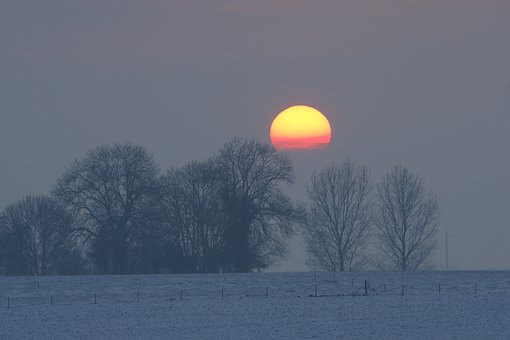 Winter, Dawn, Snow, Nature, Frozen, Sunset, Cold