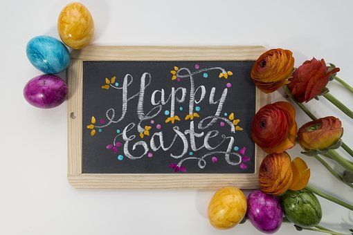 Easter, Greeting, Greeting Card, Violet, Yellow