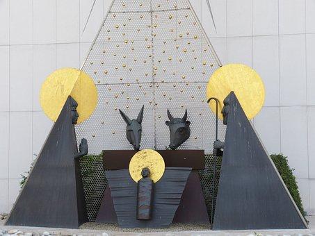 Crib, Stall, Joseph, Maria, Silhouettes, Advent