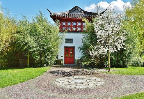 Japanese Garden, Tea House, Architecture, Ornament, Art