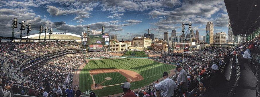 Baseball, Ballpark, City, Detroit, Field, Game, Sport