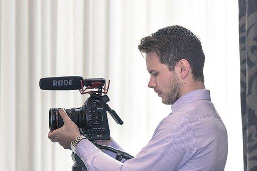 Man, Male, White, Beard, Camera, Canon, C100, Rode