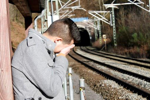 Young People, Melancholy, Sad, Railway Station, Boy