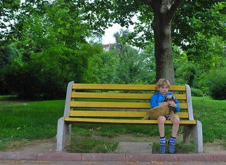 Lonely, Child, Waiting, Boy, Alone, Sitting, Bench, Toy