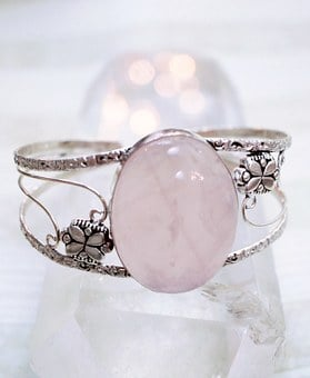 Jewelry, Rose Quartz, Pink, Cuff, Stone, Bracelet, Gem