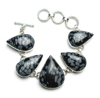 Snowflake Obsidian, Bracelet, Stone, Sterling, Silver