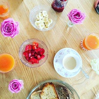 Breakfast, Coffee, Cup, Bread, Flowers, Fruit