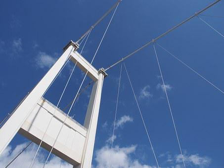 Severn Bridge, Bridge, Suspension, Sky, Blue, Transport