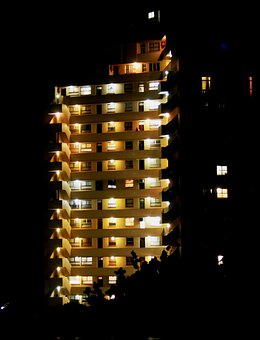 Building, High Rise, Floors, Windows, Lights On, Rows